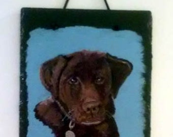 Custom Chocolate Lab Portrait on Natural Slate, acrylic pet portrait on slate, brown lab, pet portrait, slate