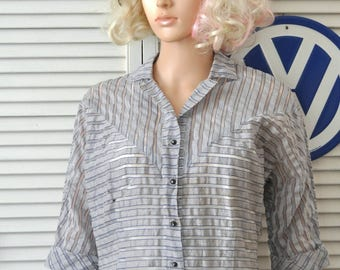Vintage 40s Womens Sheer Daywear Blouse Shirt Top Mid Century Costume Display Pattern Distressed as is Opera 34 Rhinestone Buttons