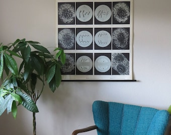 Original vintage roll down German school wall chart of MITOSIS CELL DIVISION Biology Genetics
