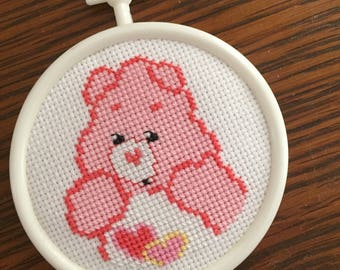 Care Bear Completed Cross Stitch Wall Decorations - Love-A-Lot Bear