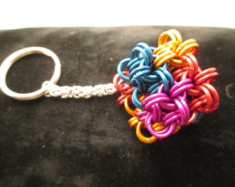 Colorful Chainmaille Cube Keychain