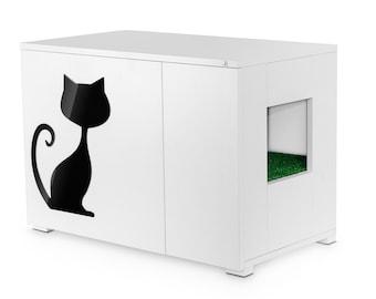 Cat Litter Box Cover, Pet Furniture, Cat House, Modern Litter Box Cabinet