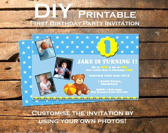 First Birthday Party Invitation ~~ Designed for Boy or Girl ~~ DIY Printable & customise with your own photos!