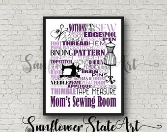 Gift for Tailor, Seamstress Gift, Gift for Seamstress, Gift for Sewer, Sewing Pattern Gift, Personalized Sewing Poster, Sewing Typography