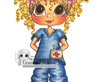 DOWMLOAD instantánea Digital Digi sellos a ojo grande Big Head Dolls Digi enfermera Bonnie por Sherri Baldy