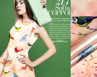 Bird Print Pink Stretch Silk Satin Fabric for Fashion Apparel Width 46 inch