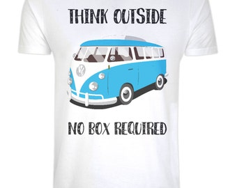 Organic Cotton Camper Van T-shirt - Eco Friendly, Ethical, Sustainable - Think Outside , No Box Required - Inspirational Quote, Eco Tee