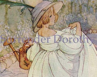Mary Mary Quite Contrary Anne Anderson 1920s Original Lithograph Nursery Illustration To Frame