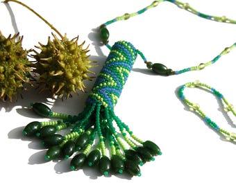 Chevron Pattern Green Jade and Peridot Rainstick Necklace