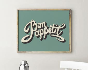 Printable Bon Appetit Sign, Bon Appetit, Kitchen Decor, French Kitchen Decor, Kitchen Signs, French Kitchen Sign, Kitchen Art, Kitchen Wall