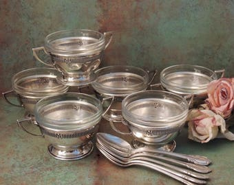 STERLING Silver Bouillon Holders with Glass Inserts Set of 6, Sterling Silver Cream Soup Holders, Sterling Soup Bowls, Bouillon Cup Holder