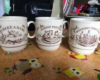 Vintage Set of 3 Kilncraft Mugs with Recipe , Hedgehog Tipsy-Cake, Bake a Hare, Parsnip Fritters