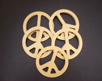 5 Unpainted 24'' Peace Signs Made from  1/2'' MDF. 1-12 A