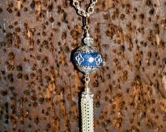 Tasseled Blue Pendant Necklace