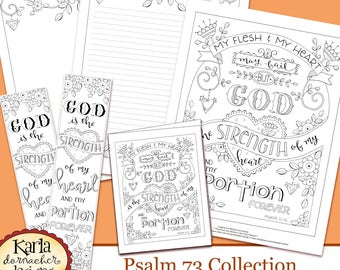 Psalm 73, Hope in God Coloring Collection, Bible Journaling Templates, Bookmarks, Hope in Psalms, Scripture INSTANT Download Printable