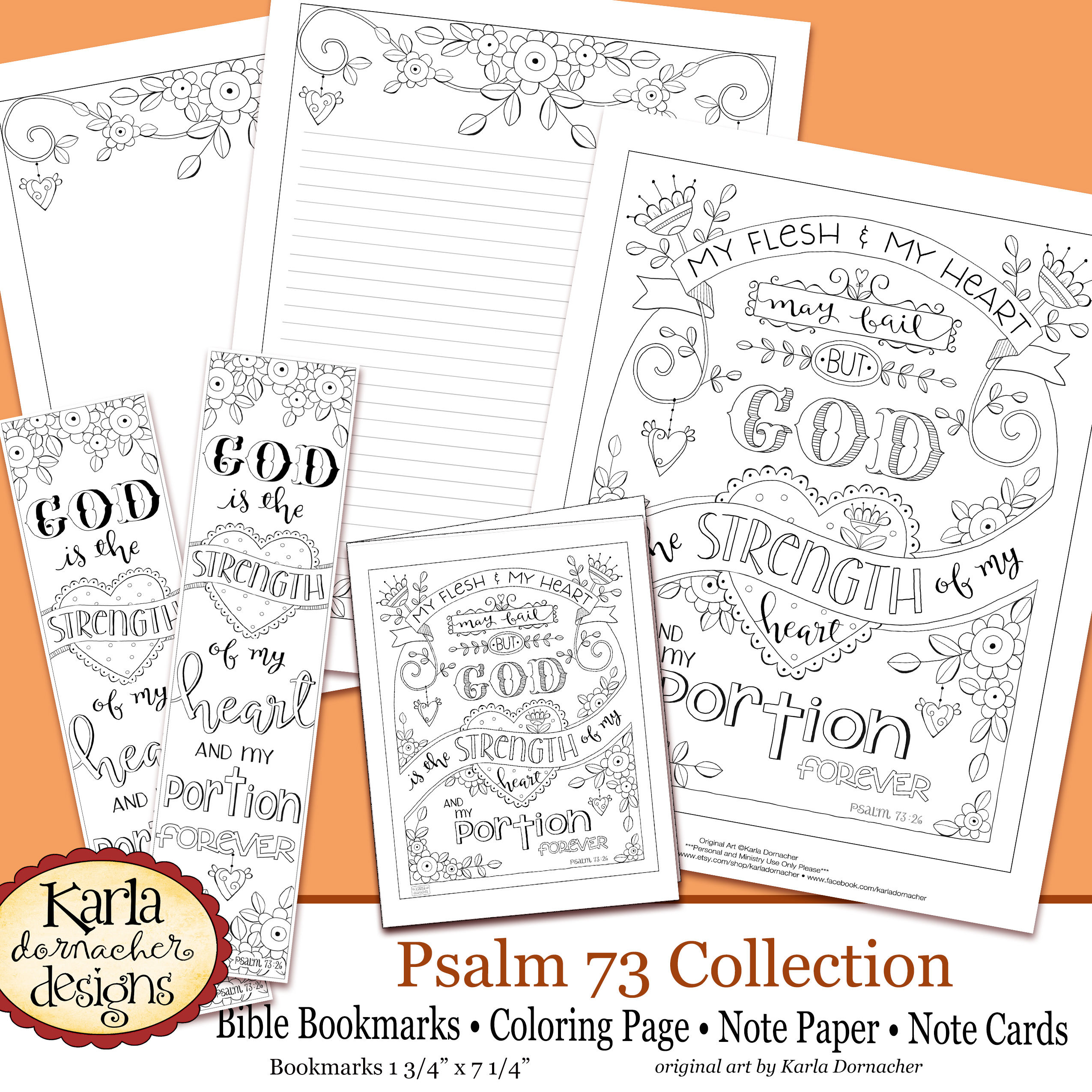 Psalm 73 Hope In God Coloring Collection Bible Journaling Templates Bookmarks Psalms Scripture INSTANT Download Printable
