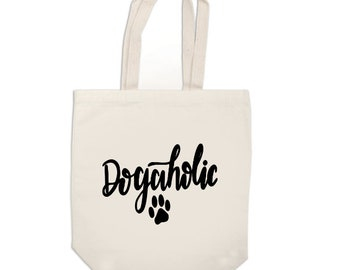 Dogaholic Dog Lover Funny Canvas Tote Bag Market Pouch Grocery Reusable Recycle Go Green Eco Friendly Jenuine Crafts