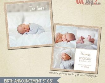 INSTANT DOWNLOAD - Birth announcement card photoshop template 5x5 - BA103