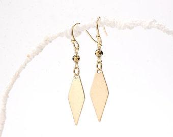 Christmas Gift. Diamond Shape Earrings. Gold Diamond Shape. Geometric Earrings. Geometric Jewelry. Gold Adventurer Earrings