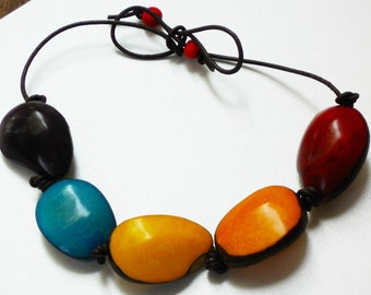Tagua & Acai Berry Orange, Blue, Red, Yellow Adjustable Unisex Eco Friendly Necklace ,The Coloured Soul