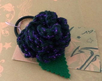 Crocheted Rose Ponytail Holder or Bracelet - Sparkly Purple and Black (SWG-HP-ZZ14)
