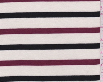 Cream/Black/Berry Stripe Sweater Knit, Fabric By The Yard