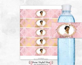 Water Bottle Labels Blush Pink & Gold Damask | African American Princess Tulle Dress | Digital Instant Download
