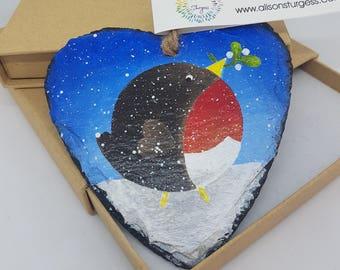 Weihnachten Robin - Schiefer Herz - von Hand bemalt - Christbaumkugel - Vogel Dekoration