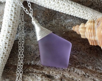"Made in Hawaii, Wire wrapped ""Magical Color Changing"" Purple sea glass necklace,925 sterling silver chain, sea glass jewelry."
