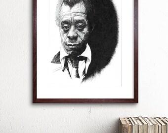 James Baldwin - unfinished style pen / pencil drawing Illustration Print - American author, Activist, Social critic