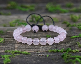 Rose Quartz Bracelet, Adjustable Bracelet, Gemstone Jewerly, Rose Quartz Stone, Healing Crystal, Bohemian Bracelet, Pink Gemstone