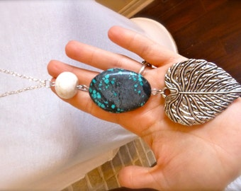 Turquoise, white turquoise and leaf necklace