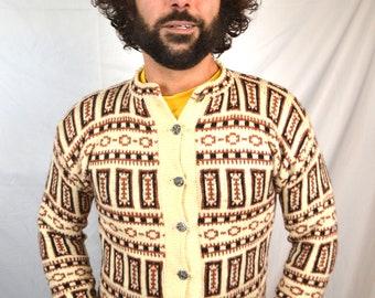 Vintage Cardigan Geometric 1960s 60s Wool Sweater - Made in Norway