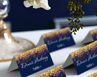 Gold Sparkle and Navy Wedding Place Card Tents, Place Cards, Avery 5302 DIY Place Card Printable, code-024-2