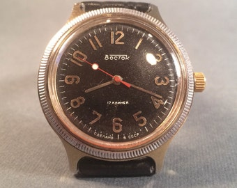 Gold-plated Vostok Soviet watch Russian watch - USSR Mens Watch Wostok SERVICED- montre - leather band