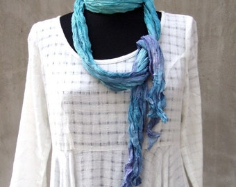 Ombre crinkle silk scarf peacock hand dyed long silk scarf bohemian clothing