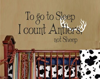 To go to sleep I count antlers Boys Wall Decals - Childrens Wall Decal Vinyl Art - Nursery Wall Decal Vinyl Lettering