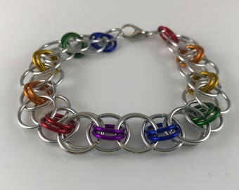 Sale 25% off Rainbow Silver Helm Chain Chainmaille Bracelet