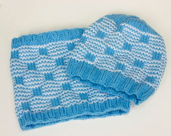 Custom Hand Knit Hat and Cowl Scarf Set, Choose Color,  Neck Warmer, Neckwarmer,  Women's Winter Hat and Circle Scarf