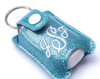 Personalized Gifts Monogram keychain fits new BBW hand sanitizer holder monogrammed glitter vinyl custom keychain