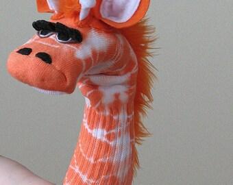 Tie Dye Giraffe Sock Puppet