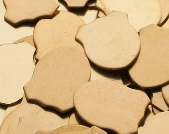 Bronze Shield - 1 x 1 1/4 - Qty 3, stamping blanks, dog blanks, metal blanks, Bopper, etching blanks, embossing blanks, supplies