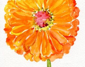 Zinnia  Watercolors Painting Original, 5 x 7, flowers watercolor, Orange zinnia painting, flower artwork, zinnia illustration, small floral