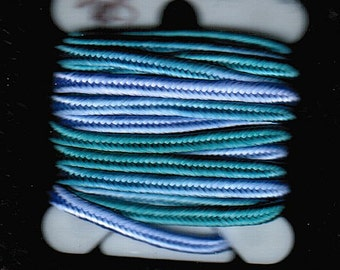 Hand Dyed 3mm Soutache - Teal to Purple