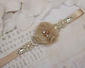 Flower Girl Belt, Flower Girl Sash, Mocha Flower Belt, Bridesmaid Belt, Wedding Sash, Sash Belt, Crystal Rhinestone Belt, Dress belt