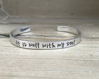 It Is Well With My Soul / Hymn Lyrics / Scripture Bracelet / Christian Gift / Bereavement Gift / Miscarriage Jewelry / Encouragement Gift