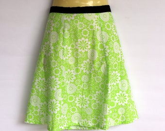 Green Floral A Line Skirt - ladies sizes avail - daisy, retro, flower, cotton