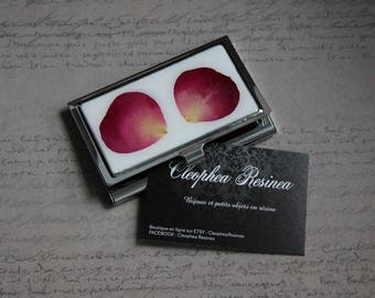 Business card carrier covered with resin and Rose petals