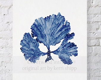 Seaweed II in Denim Blue Watercolor Print 11x14 - Sea Coral Art Print - Sea Fan Art Print - Coral art by Kerri Shipp