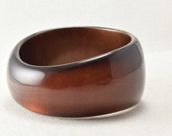Brown lucite bangle bracelet, metallic beown 1960s vintage chunky bracelet,  translucent lucite, bronze lucite bracelet, asymetrical bangle